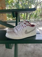 Men's Nike Air Jordan Retro 1 Phat Low White Elephant Print US Size 14