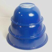 Vintage Pyrex Mixing Bowl Set 3 Blue Glass Bottom #322 323 325 Farmhouse