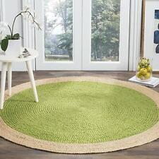 Indian Handmade Natural Reversible Jute Floor Rug Round Weave Indian Rag Rugs