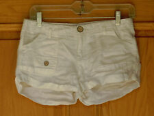 Pink Zone Ladies Size M Off White Linen Shorts