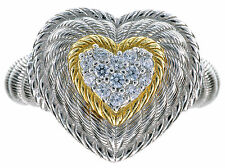 Judith Ripka Sterling Silver/14K Clad CZ Diamonique Heart Ring Size 6