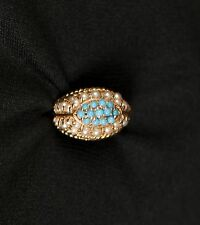 Antique Victorian Persian Turquoise & Pearls Dome Design 14KT Gold Ring Jewelry