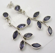 """925 PURE Silver Sparkling IOLITE GEMSTONE TREE LEAVES Earrings 1.8"""" WELL MADE"""