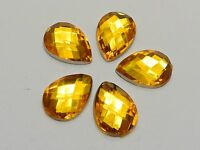 200 Gold Acrylic Flatback TearDrop Rhinestone Gems 10X14mm No Hole