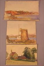 3 alte Aquarelle England von 1909  G. Smith