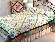 Starburst Quilt Pattern~NEW~Twin&Queen Size~Star Churn Dash 9-Patch blocks #420