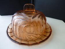 Ancienne cloche à fromage en verre moulé sur son plateau