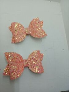 2   peach coloured    Hairbows  from 0.99p BARGAIN   .......NEW COLOUR