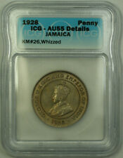 1928 Jamaica King George V Penny Coin ICG AU-55 Details Whizzed KM#26
