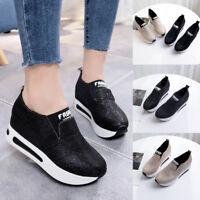 Women Flat Thick Bottom Shoes Slip On Ankle Boots Lesiure Platform Sport Shoes