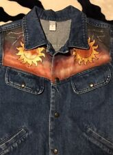"""EUC>>Youth>>Jean Jacket>>Size L (armpit-to-armpit is 20.5"""">>Cotton>>Hand Painted"""