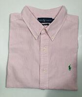Polo Ralph Lauren Seersucker Men's Shirt XXL 2XL Pink Stripe Short Sleeve EUC