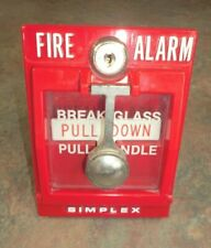 SIMPLEX PULL-DOWN WALL FIRE ALARM GLASS INTACT VINTAGE SCHOOL HOUSE PULLDOWN