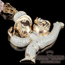 BIG CUSTOM STERLING SILVER ROSE GOLD FINISH MONOPOLY MONEY BAG MEN CHARM PENDANT