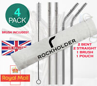 Stainless Steel Metal Straw Drinking Straws Home Party Bar UK washables Set Case