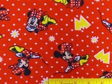 Minnie Mouse Polka Dots Daisies Red Disney Flannel Fabric   BTY   (K1)  #