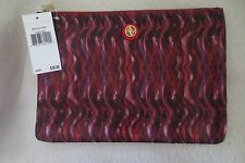 New Adrinne Vitadini Makeup Cosmetique Travel Pouch Large Wine Wavy Design