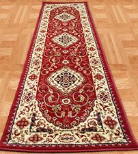 80x250cm PERSIAN HALL RUNNER RED TRADITIONAL DESIGN HALLWAY HERITAGE RUGS 2117