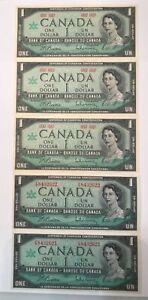 CANADA Centennial  1867-1967 $1 One Dollar 5 notes UNC, 2 w/Consecutive Serial #