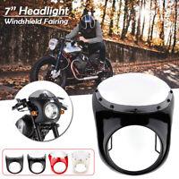 7''Motorrad Scheinwerfer Verkleidung Lampenmaske Für Harley Cafe Racer Universal