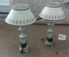 A pair of Vintage Hurricane Lamp with Metal Shade Mid Century Modern