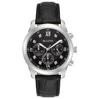 Bulova Men's 96D134 Quartz Chronograph Black Dial Black Leather Strap 40mm Watch