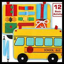 Busy Board School Bus Style Activity 12 Basic Skill For Fine Motor & Learn To Dr