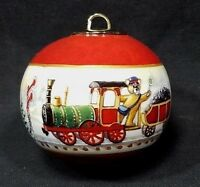"CHRISTMAS TREE ORNAMENT CERAMIC POTTERY SANTA BEAR LOCOMOTIVE TRAIN OVAL 2 1/2"""