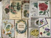 10 Antique/ Vintage BIRTHDAY POSTCARDS Greetings Holiday Flowers Embossed