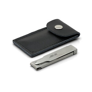 Otto Herder Small Folding Travel Nail Clippers in black leather pouch   Germany