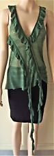 DIESEL: Italy VRUGE PULLOVER Frill Top Textured Fine Sheer Knit Green Size-M