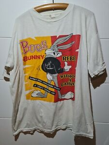 Vintage 1989 Looney Tunes Bugs Bunny Single Stitch White T Shirt XL Warner Bros