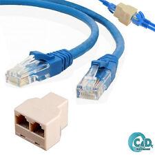 2Pcs 2m RJ45 Cat5e Ethernet Network Patch Cable + 1 x 3 Port Y Splitter Coupler