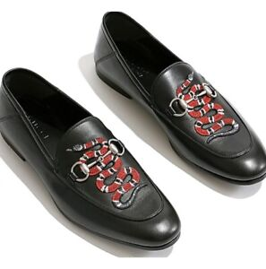 NEW Men's GUCCI King Snake Leather Loafers - Size 9 Black With  Receipt