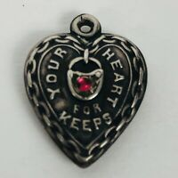 Vintage Sterling Silver Puffy Heart Bracelet Charm Lock Your Heart For Keeps