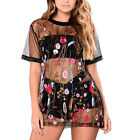 Sundress Black Mesh Transparent See Through Floral Embroidery Mini Party Dress