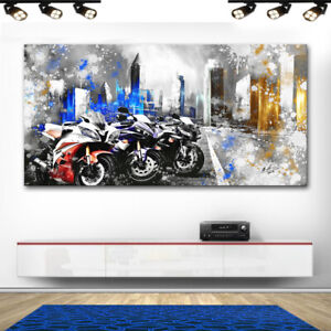 Superbike Motorräder & Autos Abstrakt Bilder Leinwand Wandbild XXL 2625A