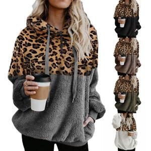2021 Womens Winter Fluffy Coat Fleece Fur Jumper Teddy Bear Hoodies Pullover Top