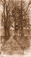 ARTS & CRAFTS TREES Original Etching FRED E. BOLT c1910