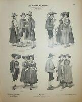 Tirol Tyrol Tirolo costumes Trachten Münchener Bilderbogen Nro. 1217