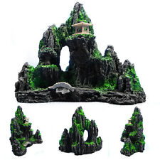 1x Mountain View Aquarium Ornament Rock Cave Stone Tree Bridge Fish Decoration