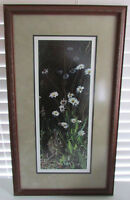 Vintage Terry Isaac Spring Shadows Cottontail Art Framed Print Signed Number COA