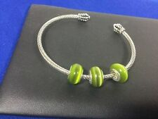 3 Bauble Lulu Beads Green Cat's Eye Charm Beads Fits European Bracelets BLB 9