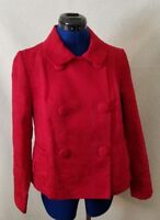 Talbots Womens Jacket Sz Petite Med Blazer Red Brocade Double Breasted w Buttons