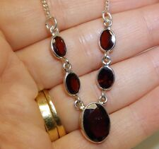 """925 STERLING SILVER  RED OVAL CUT  GARNET STATEMENT 17"""" NECKLACE"""