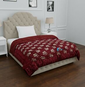Jaipuri Razai Red Silk Gold Elephant Print Blanket Quilted Throw Quilt Comforter