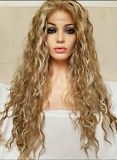 Light Ash Blonde Curly Perm Human Hair Wig Lace Wig