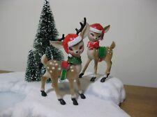 Vintage Plastic Reindeer Deer Christmas Putz Display Santa Sleigh