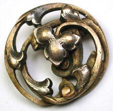 "Antique Pierced Brass Button  Art Nouveau Iris Flower - 15/16"""