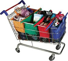 WhozzEco Shopping Cart Bags, Set of 4 in 4 Colors, Foldable & Reusable
